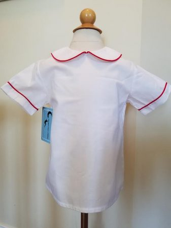 Peter Pan Shirt, Short Sleeve, Red Piping