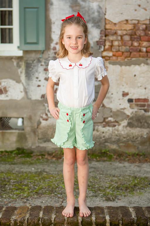 Vintage Cherry Short Set Childrens Clothing Smocked