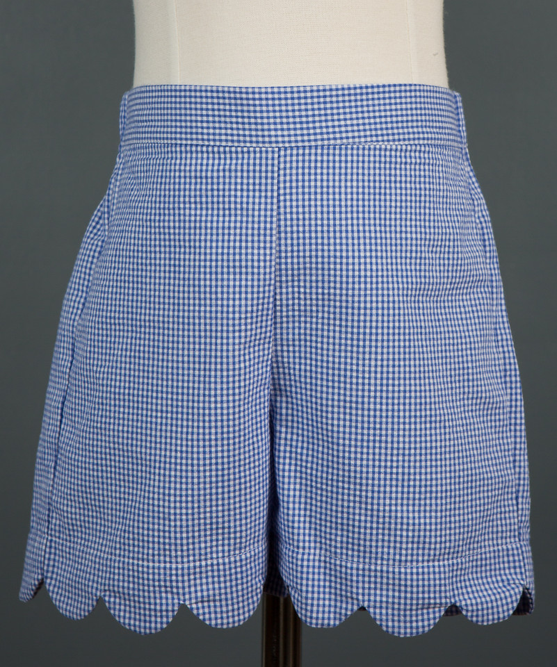 Girls Blue Gingham Scalloped Shorts Childrens Clothing