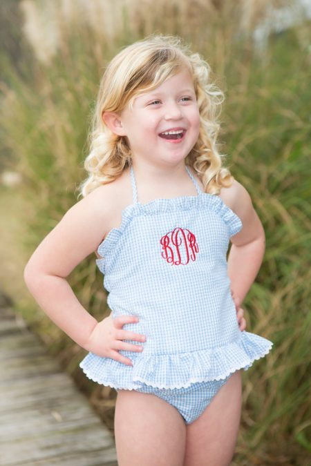 Girls Blue Swimsuit Childrens Clothing Smocked