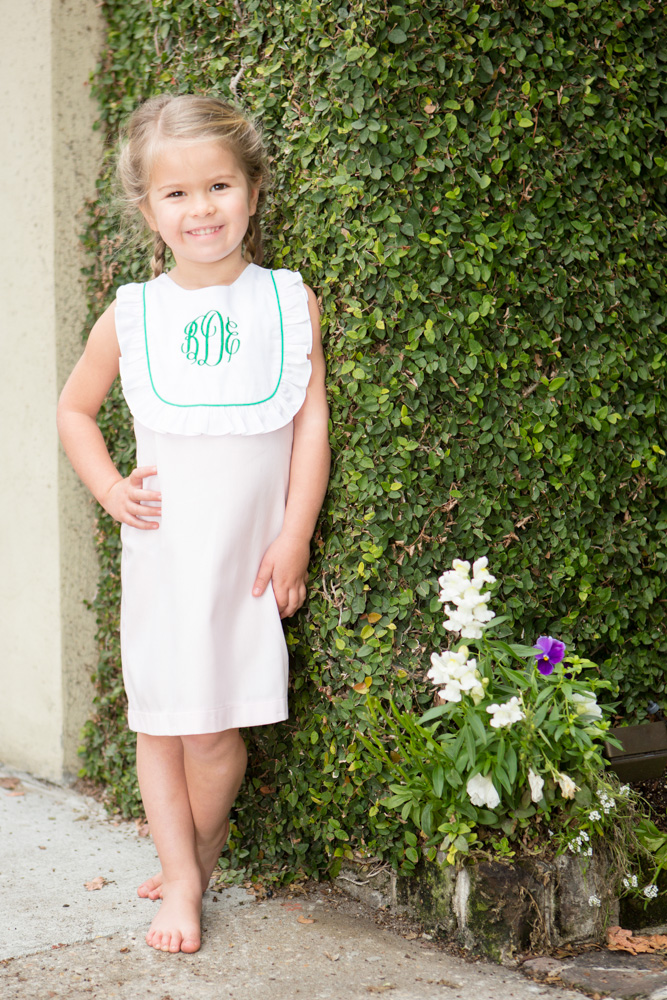 Monogram Spring Bib Dress Childrens Clothing Smocked