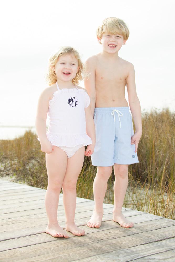 Pink Seersucker One Piece Swimsuit Childrens Clothing