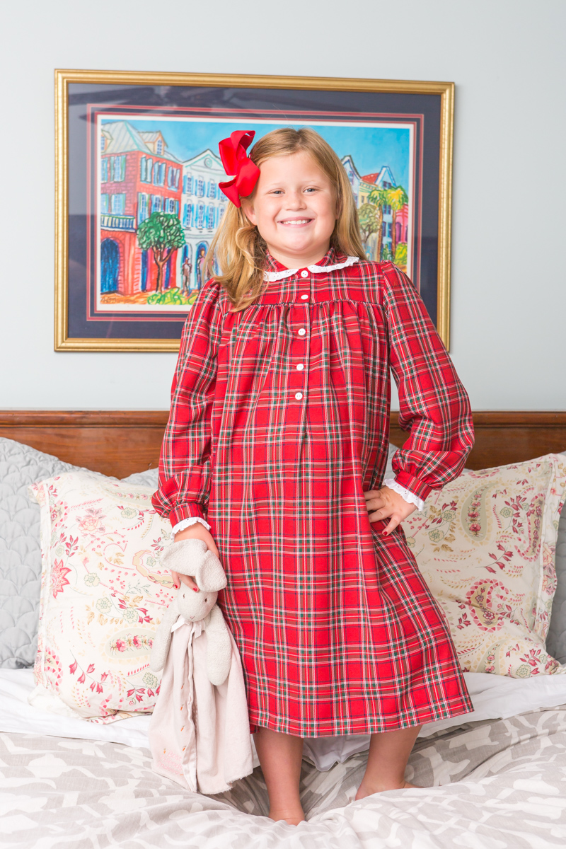 Winter Tartan Red Nightgown Childrens Clothing Smocked