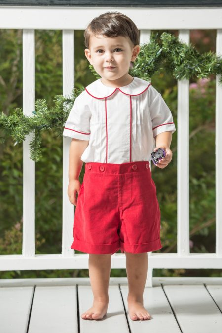 Jolly Red Vintage Suit - Monogram Boys Christmas Outfit Archives - Childrens Clothing Smocked